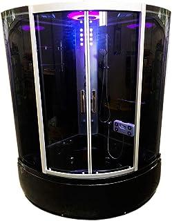 Bañera hidromasaje VIENNA Bañera de esquina negro hidromasaje 130 x 130 cm Nueva