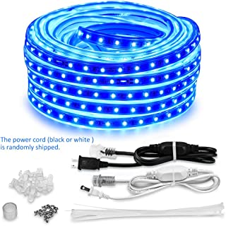 AMANEER 50ft/15m LED Lights Strip kit Connectable Flexible Rope Lights Waterproof Blue 110V 2 Wire 900 Units SMD 2835 LEDs,Power Supply Indoor/Outdoor Use Ideal for Backyards Any Location Lighting