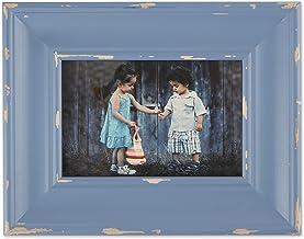 مجموعة إطارات الصور الخشبية ديستريسد مستوحاة من مزرعة الريفية من دي آي آي ، مقاس 10.16 سم × 15.24 سم، باللون الأزرق الحجري