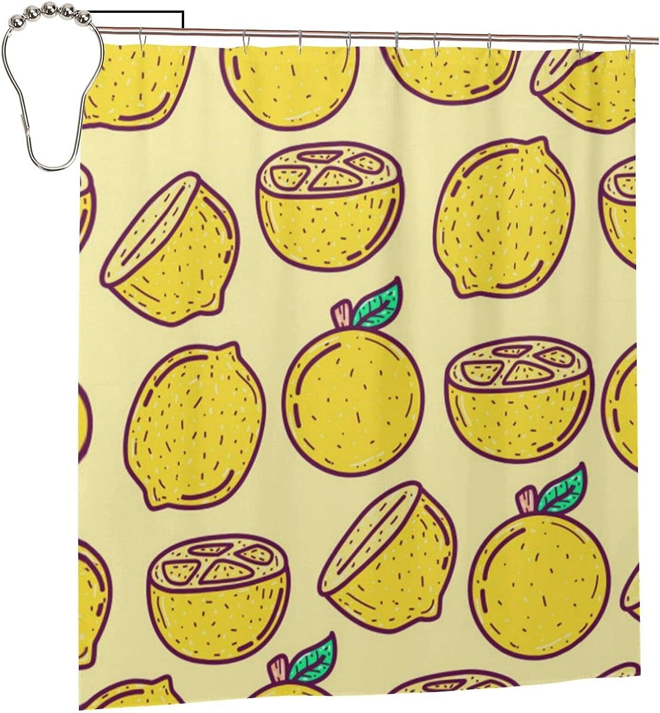 Kawaii Complete Free Shipping Doodle Cartoon Lemon Curta Bathroom Curtain Shower Opening large release sale