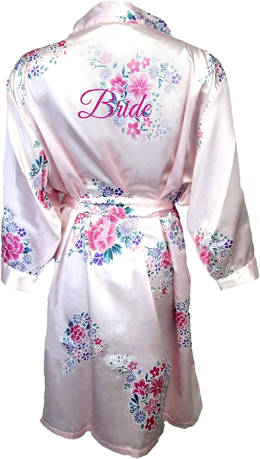 GirlEO Women's Satin Floral Bridal Party Robe with Bride Title
