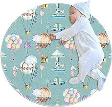 Tecknad varmluftsballong, barn rund matta polyester överkast matta mjuk pedagogisk tvättbar matta barnkammare tipi-tält le...