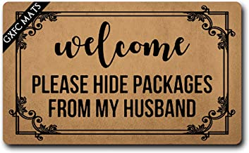 GXFC Welcome Mat with Rubber Back Welcome Please Hide Packages from My Husband Funny Doormat for Entrance Way Monogram Mats for Front Door Mat No Slip Kitchen Rugs and Mats 30