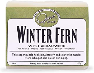 Opas 100% Natural Winter Fern Soap for Men and Women - Detox - Stress Relief - Made w/Essential Oils Spruce, Cedar and Wild Rosewood