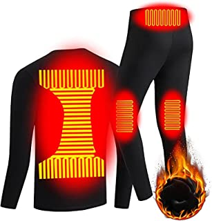 Insulated Heating Underwear Washable Thermal Long Sleeve Men T Shirts and Pants USB Charging MenHeated Set for Outdoor Run...