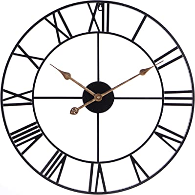 24Inch Round Oversized Roman Numeral Style Home Decor Analog Black Metal Clock-Indoor Silent Battery Operated Country Farmhouse Decorative Metal Wall Clock for Home( Antique Gold Hands)