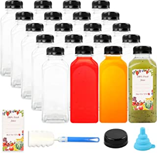 20pcs Empty PET Plastic Juice Bottles 12oz Reusable Clear Disposable Containers with Black Tamper Evident Caps Lids for Juice, Milk and Other Beverages