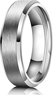 Just Lsy 6MM Wedding Band Men Titanium Ring Engagement Ring Silver Comfort Fit Beveled Edges Matte Finish Size 5.5-15