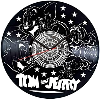 Tom and Jerry Black Vinyl Clock - Vintage Room Kitchen Bedroom Decor - Vinyl Record Gift Idea for Birthday Christmas Hanukkah - Unique Vintage Wall Art - Personalized Home Decoration - 12 Inch