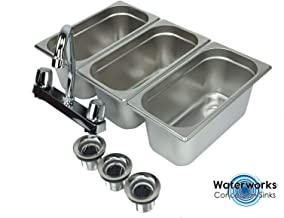 Concession Sink 3 Compartment Portable Stand Food Truck Trailer 3 Small w/Faucet