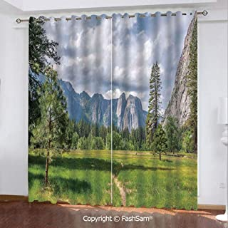 "Best Home Fashion Blackout Curtains Yosemite Valley Meadows with Trees Fluffy Clouds Cliff Tourist Attraction Picture Window Treatment Pair for Bedroom(108""X62"")"