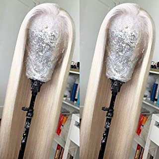 Missyvan White Hair Color Lace Front Wig Long Straight Hair Wigs Platinum Blonde Heat..