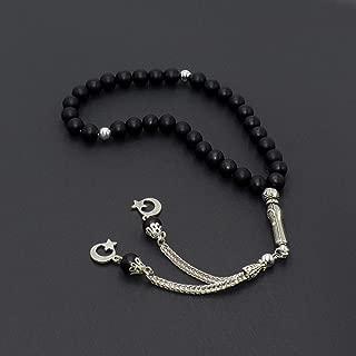 Black Synthetic Onyx Prayer Beads (8 mm, 33 Beads) Tesbih-Tasbih-Tasbeeh-Misbaha-Masbaha-Subha-Sebha-Sibha-Worry Beads
