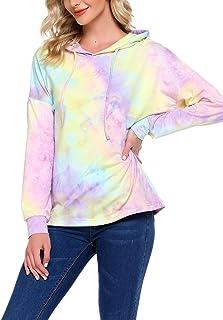 Chigant Women's Casual Tie Dye Print Hoodie Long Sleeve Loose Pullover Sweatshirt Color Block Tunic Tops
