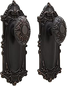 "Signature Hardware 394718 Signature Hardware 906113-PR-238 Victorian Privacy Door Knob Set with 2-3/8"" Bac"