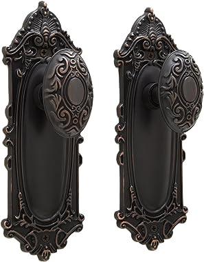 "Signature Hardware 906113-PR-238 Victorian Privacy Door Knob Set with 2-3/8"" Backset"