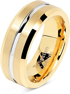 100S JEWELRY Tungsten Rings for Mens Gold Wedding Bands Silver Grooved Two Tone 8mm Wide Size 6-16
