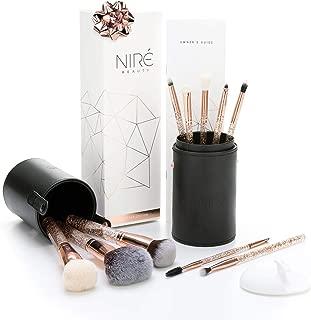 Essential Glow Set de Niré Beauty Brochas de maquillaje de Purpurina con Estuche de brochas y Cepillo de limpieza facial