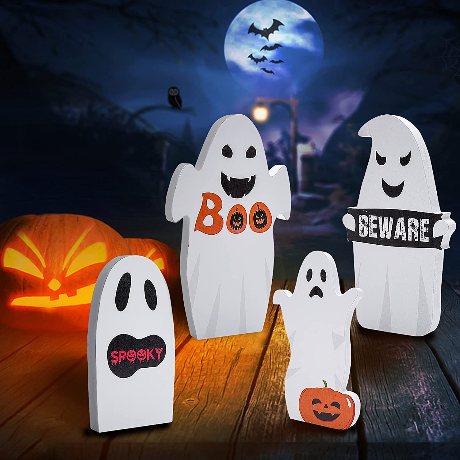 Sfcddtlg 4 Sets Ghost Wooden Table Sign-Halloween Ghost Pumpkin Wooden Table Centerpieces-Halloween Boo Wood Sign Beware Spooky Table Decor for Halloween Party Decoration(4pcs)