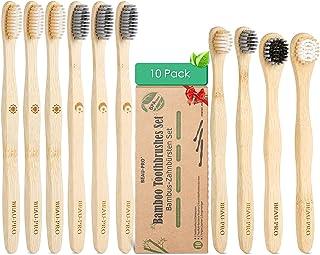 Cepillo Dientes Bambú 100% Natural,Paquete de 10 cepillos de Dientes de Bambú Ergonómico,Sin BPA,Veganos y Biodegradable,c...