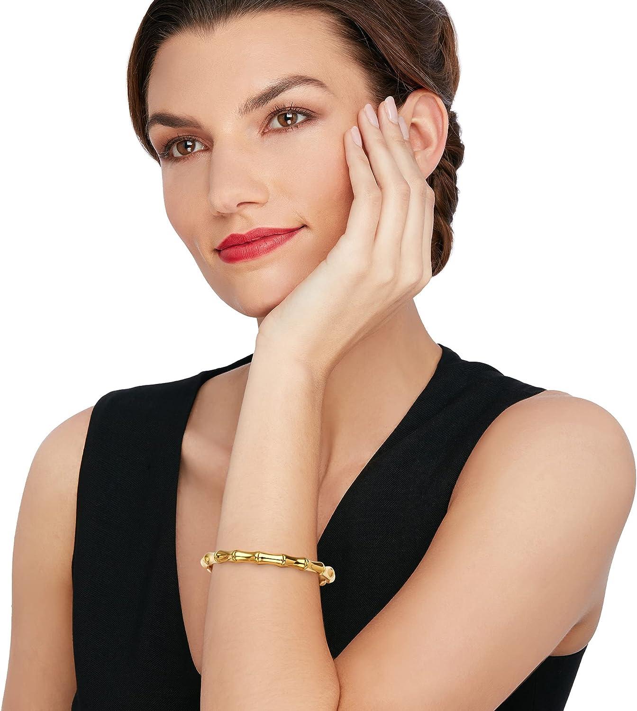Ross-Simons Italian Andiamo 14kt Yellow Gold Over Resin Bamboo Bangle Bracelet