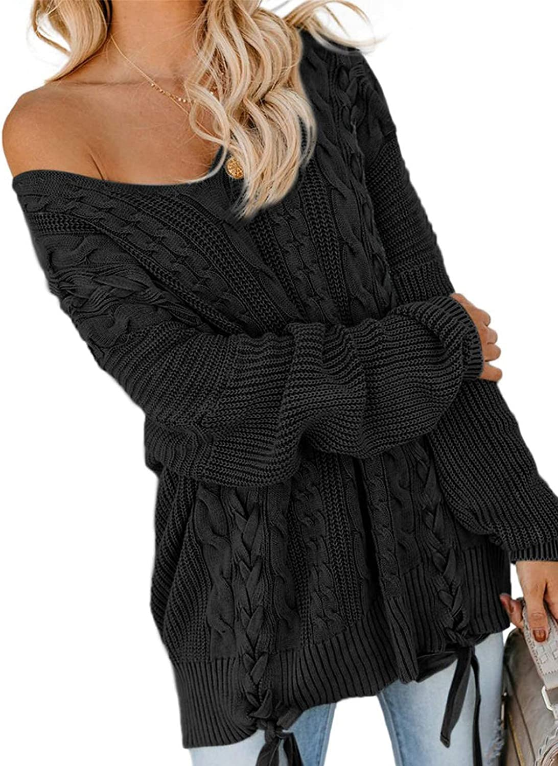 HOTAPEI Women's Off Shoulder Long Sleeve V Neck Ribbed Cable Knit Pullover Sweaters