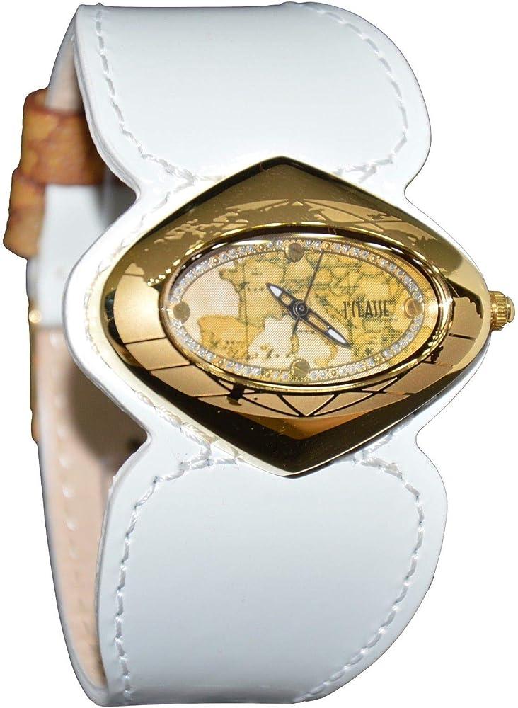 Alviero martini, orologio per donna solo tempo,in acciaio dorato con mappa in rilievo,e cinturino in pelle PCD 848/1VB