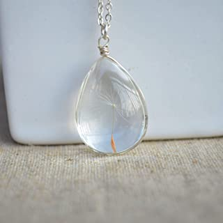 Dandelion Seed Wish Real Flower Glass Waterdrop 925 Sterling Silver Chain Necklace