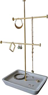 One Jazzy Two Tier Jewelry Stand, Earring, Necklace And Bracelet Holder With Concrete Accessory Base