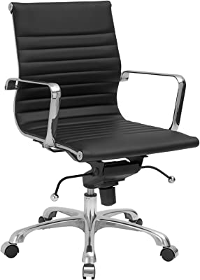 Poly and Bark Ribbed Mid Back Office Chair in Black