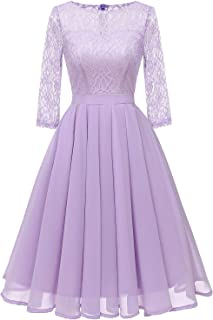 Women's Lace Midi Dress Sheer Long Sleeves Skirt A Line Chiffon Homecoming Dresses