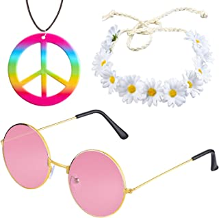 Beelittle Women Hippie Costume Set - 60's 70s Style Retro Vintage Glasses Peace Sign Necklace Sunflower Crown Hair Band