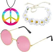 Beelittle Hippie Costume Set 60s Style Retro Vintage Glasses Peace Sign Necklace Sunflower Crown Hair Band 60s Hippie Dressing Accessory Set