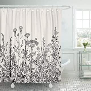 IMVONSSI TMSNS Ambesomee Shower Curtain 72x72 Outline Sketch Vintage Sparrow Bird Tattoo Doodle Tree Abstract Goldfinch Design Tail Waterproof Polyester with 12 Hooks TVMNXO