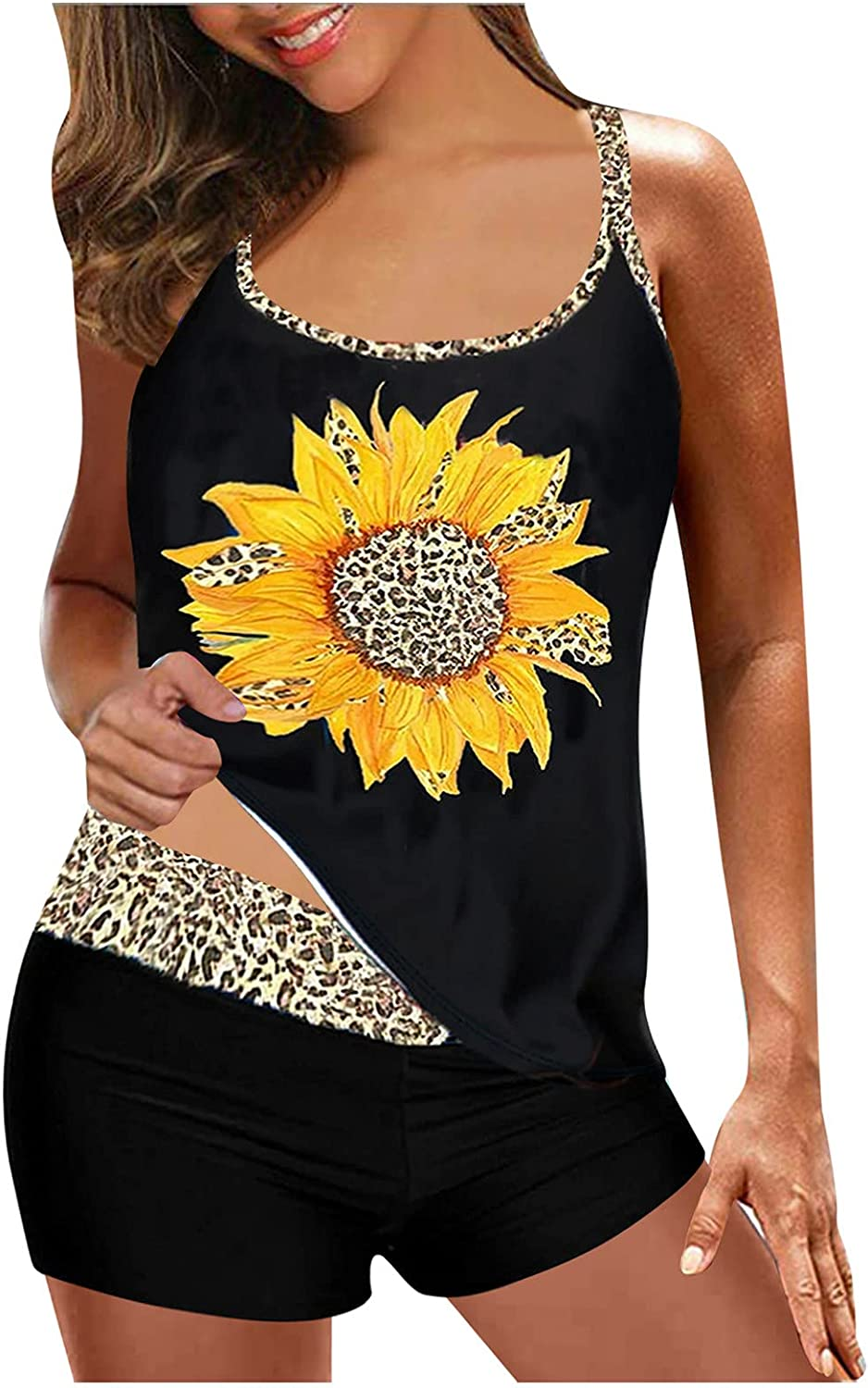 BEUU Plus Size Swimsuits for Women Deep V Backless Floral Swimwear Summer Two Piece Tankini Boy Shorts Bathing Suits