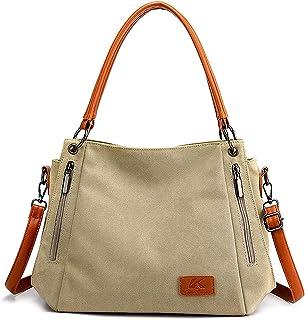 DOPN Große Canvas Tasche Handtasche, Umhängetasche, Damen Schultertasche Rucksack Groß Vintage Umhängentasche Shopper für ...
