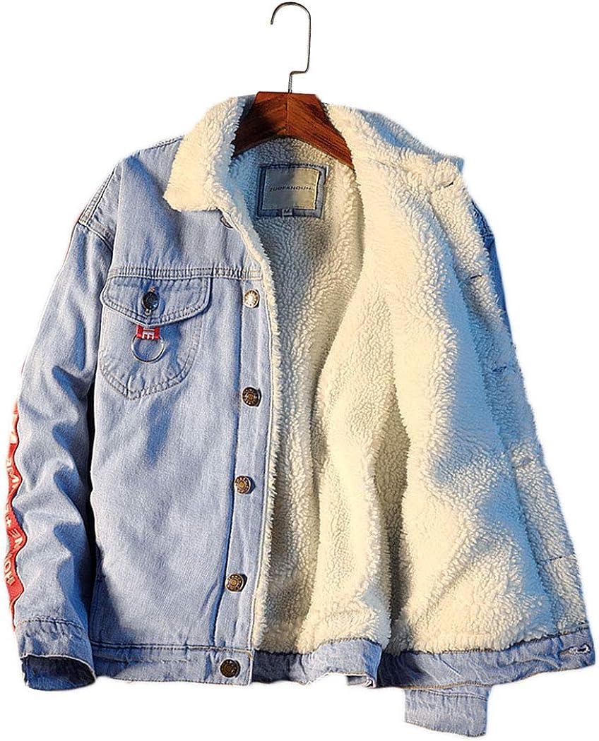 Azastar Mens Fleece Sherpa Lined Jacket Winter Warm Coat Casual Denim Outwear