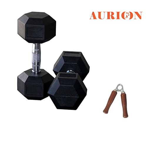fb021b23a02 Aurion Rubber Hexa Hex Dumbbells (Pair) Weight Set Solid Dumbbell with  Wooden Hand Grip