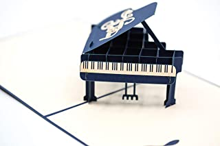 IOC Premium 3D POP UP Greeting Card - Happy Birthday for Musicians, Singers Music Lovers, Pianists Jazzers Composers and Orchestra Directors Musical Instruments regalos para musicos pianistas.
