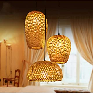 MMGIRLS Creative Three-Head Living Room Hanging Chandelier Hand-Woven Craft Bamboo lampshade Adjustable Chinese Antique Lantern Chandelier