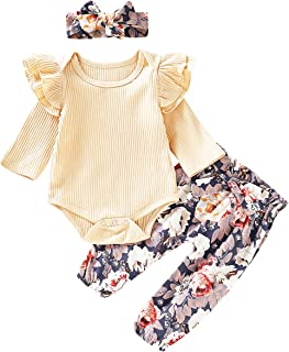 TrulyBee Outfit Set Baby Girls Floral Rose Bodysuit Ruffles Overall Skirt with Headband