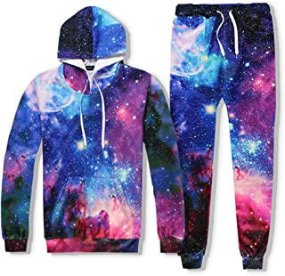 Men's Suit Sportswear Autumn and Winter Hooded Sweater Printing Long-Sleeved Trousers Flame Two-Piece,Purple,L