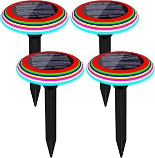 BurningYears Solar Landscap Path Lights with 7 Colour Changing Outdoor Lawn Pathway Lights IP65 Waterproof Decoration Ligh...