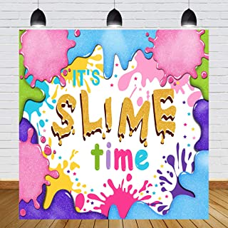 Glitter Slime Birthday Party Backdrop Colorful Graffiti Splatter Slime Theme Photography Background Baby Shower Girls Boys Newborn Baby Party Decorations Photo Studio Props 6x6ft