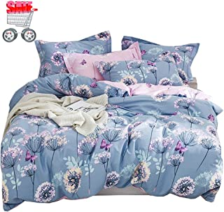 Queen Duvet Cover Cotton Bedding Set Dandelion and Butterfly Printing,Reversible Blue and Pink Duvet Cover Set,Breathable,3 Pieces Bedding Set with Zipper Closure,Full/Queen