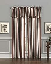 Mercury Stripe Damask Jacquard Rod Pocket Curtain Panel, 63 Inch, Spice