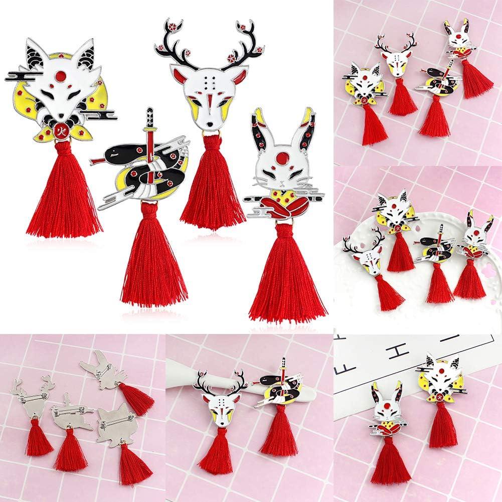 Brooch Pin, Enamel Unisex Deer Fox Rabbit Tassel Brooch Pin Denim Jacket Jewelry Badge - 1#