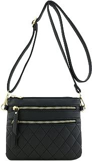Quilted Multi Zipper Pocket Crossbody Bag
