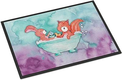 """Caroline's Treasures Rabbit and Squirrel Bathing Watercolor Doormat, 24""""H x 36""""W, Multicolor"""