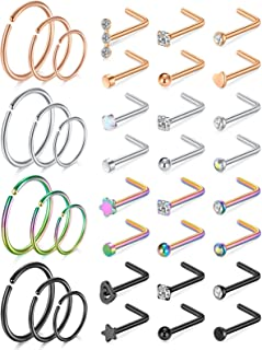 MODRSA 20g Nose Rings Studs L Shape Nose Screw Surgical Stainless Steel Nose Rings Hoop Diamond Heart Hypoallergenic Nostr...